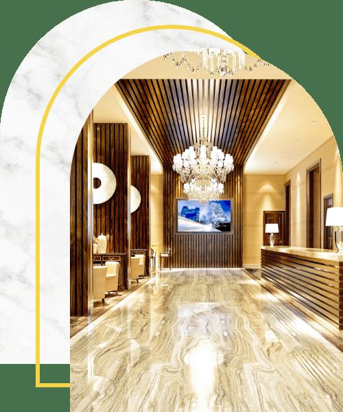 Luxury hotel entrance lobby