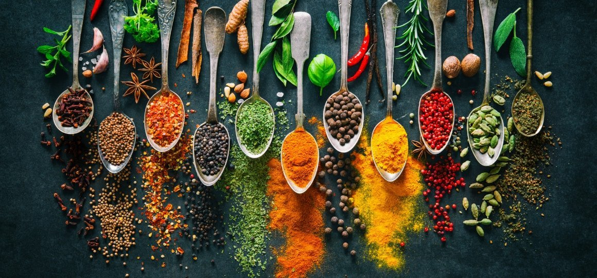 Colourful various herbs and spices for cooking