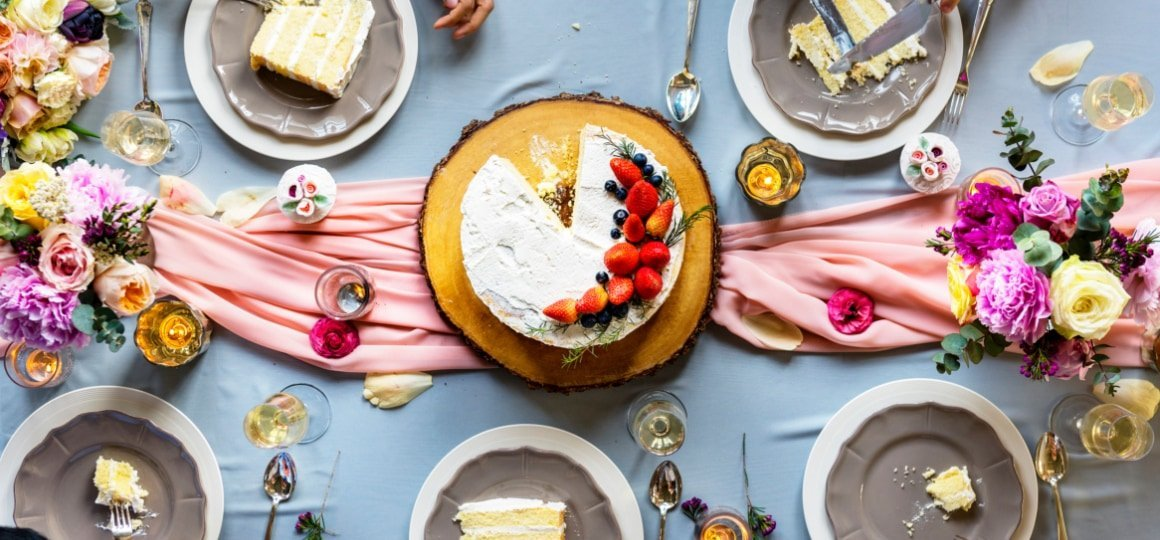 Aerial view of a cake on dining table