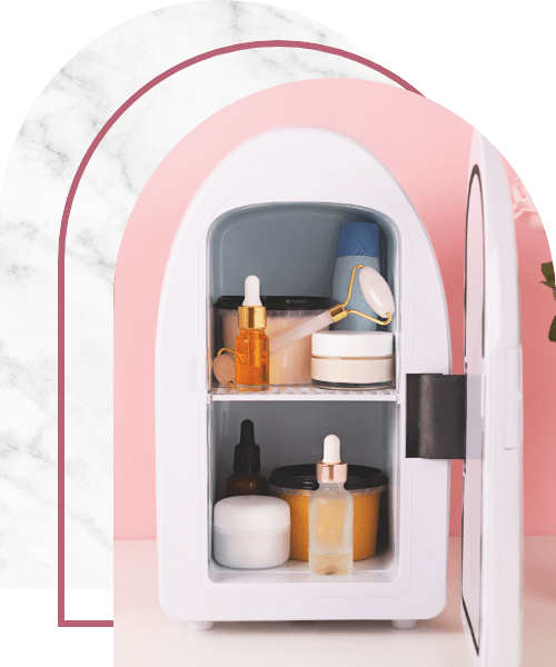 Mini fridge for keeping skincare, makeup and beauty product cool