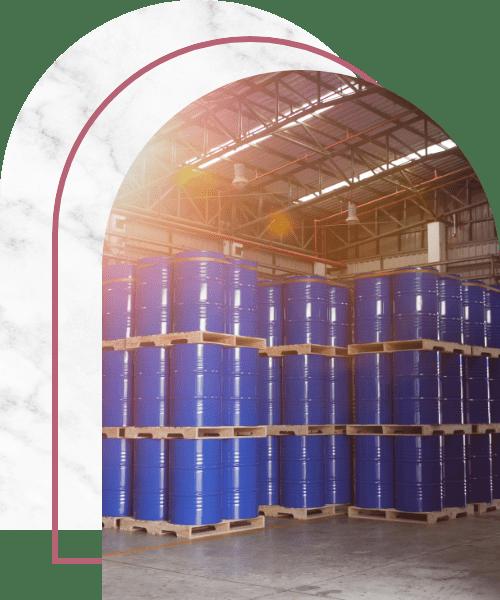 Blue barrel tank on the wood pallet in warehouse