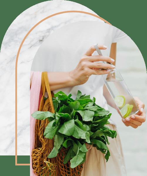 Female hands hold eco bag of vegetables